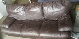 FREE - 3 seater brown leather sofa, needs going this week