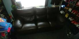 3 piece suite and chair dark brown, all recliners