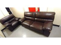 Original LEATHER SOFA 2 SEATER AND 1 ARM CHAIR