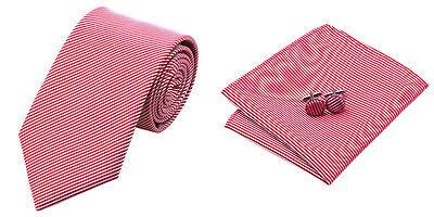 Red White Stripes Jacquard Woven 100% Silk Classic Mens Necktie Tie Hanky  (White Stripes Necktie Handkerchief)
