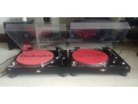 pair of Technichs 1210 with mixer, headphones and records + other stuff
