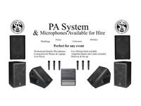 PA systems / speakers and microphones available for hire. For live performances, gigs or parties
