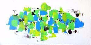 "18X36"" FLOTSOM + JETSOM Original Abstract Painting Art Green Blue Spring White Background Toronto area Oakville Floating"
