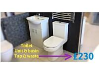 Toilet unit basin tap and waste