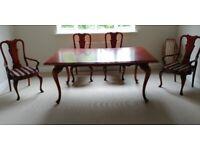 Mahogany table and chair set