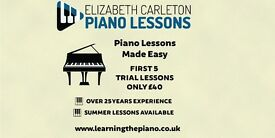 Piano Lessons from experienced teacher  1st 5 lessons for £40   Limited spaces available