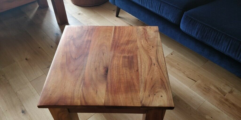 Home Kitchen Cube Mango Wood Coffee Table With Shelfsolid