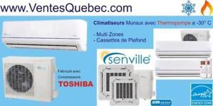 Thermopompe/ Climatiseur Mural Mini Split a -30°C avec Compresseur Toshiba - Tel: 1-514-337-8181