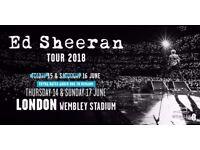 ED SHEERAN WEMBLEY STADIUM Friday 17 June 2018: X2 Standing Pitch Tickets