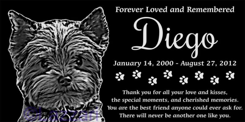 "Personalized Yorkshire Terrier Yorkie Pet Memorial 12""x6"" Headstone Grave Marker"
