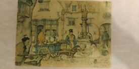 Small dutch picture by famous artist Anton Franciscus Pieck. A cobbled street scene on a busy day