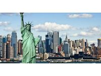 London to New York City return flight