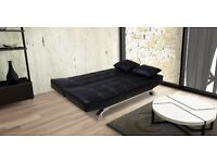 Vegan Sofa Bed In Bonded Leather With 2 Free Matching Cushions and Chrome Feet