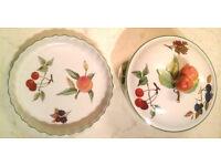 Evesham Vale pie dish + casserole, vgc, porcelain bowl with lid