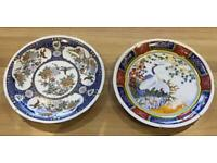 PAIR OF CHINESE BIRD PLATES BLUEBIRDS AND HERONS