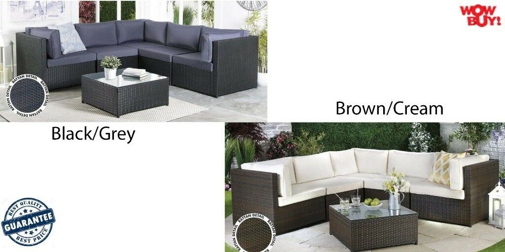 Brand New Low Price Before Season Corner Rattan Lounge Garden Conservatory Large Sofa Black
