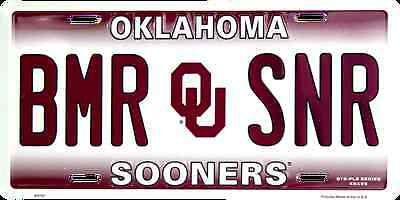 OKLAHOMA SOONERS CAR TRUCK TAG PLATE BOOMER SOONER BMR SNR METAL SIGN UNIVERSITY (Oklahoma Sooners House)
