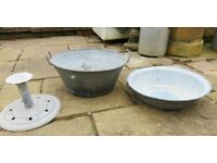 French vintage metal laundry tub & bowl; garden planter