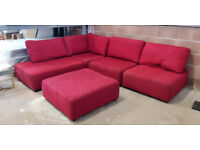 Flex Red Corner Sofa with Footstool