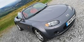 Mazda MX-5 / MX5 - 2006. Grey with red leather interior. Excellent paintwork. Android Auto.