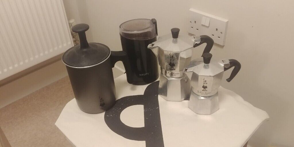 Bialetti Coffee Set 2x Moka Pots Milk Frother And Krups Coffee Grinder In St George Bristol Gumtree