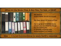 Boxes of A4 Clip Binder Files & Box Files - SWAP-Ins are what we want - not cash!