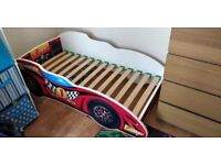 Race Car Toddler Bed including mattress and sheets - all great condition