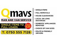 MAN AND VAN SERVICE. FROM £25 SINGLE ITEMS to FULL LOADS, CHOICE OF VAN SIZES