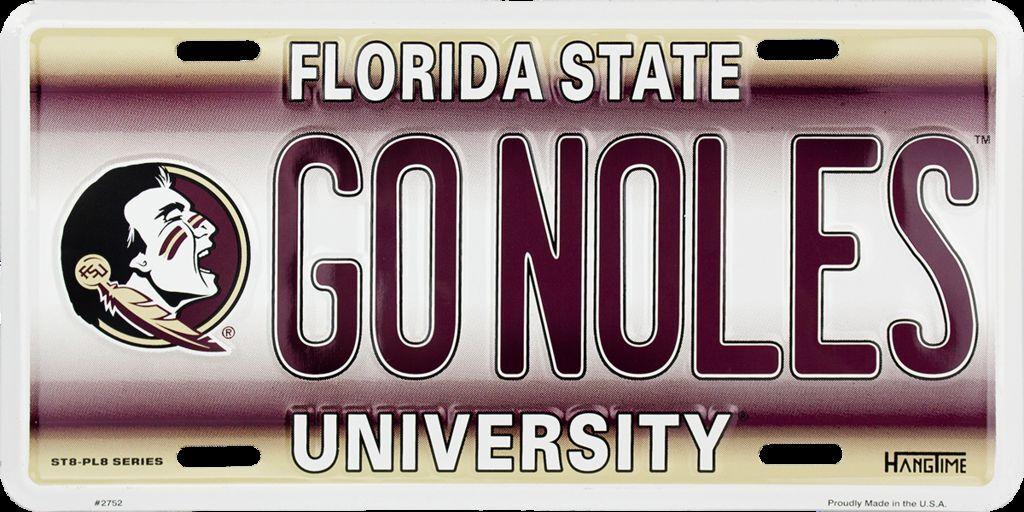 HangTime GO NOLES Florida State University Novelty License Plate Tag City Auto tag