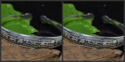 Pair Tibetan Silver Carved OM Mani Padme Hum Double Dorje Cuff Bracelets