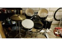 Drum kit, 5 piece set with stool and high hat cymbal.