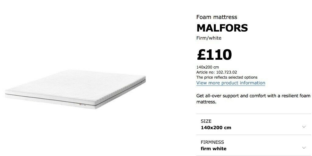 IKEA MALFORS Foam mattress, 140x200cm, in excellent condition. Firm/white