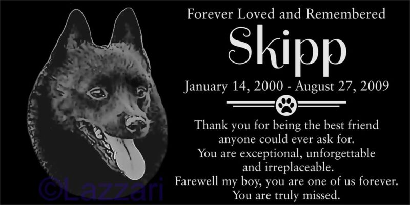 Personalized Schipperke Dog Pet Memorial 12x6 Granite Headstone Grave Marker