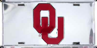 OKLAHOMA SOONERS CAR TRUCK TAG CHROME CUT LICENSE PLATE METAL OU SIGN UNIVERSITY