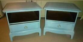 Pair of hand painted stag minstrel bedside drawers