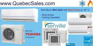 Wall-Mount Split Air Conditioner & Heat Pumps, down to -30°C!  Toshiba Compressor - Tel: 514-337-8181