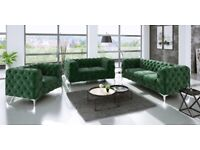 luxury deigner velvet chesterfield sofa suite 3 2 1