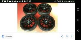 BMW MV4 Set Of 4 Black Wheels & Tyres