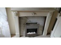Marble fireplace and surround (including electric fire)