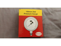100mm Dial Pressure Gauge New Brand. Bottom entry