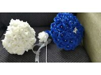 Royal Blue & Ivory Bouquets