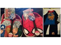 ALL NEW NEW SIZE 8+9 AVENGERS / SPIDERMAN PUMPS + AGED 4-5 SCOOBY DOO PYJAMAS