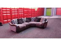 Large corner sofa, swivel chair and footstool.