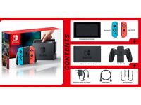 Nintendo Switch with box and legend of Zelda game and Case