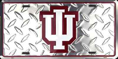 (INDIANA UNIVERSITY CAR TRUCK TAG DIAMOND LICENSE PLATE HOOSIERS METAL SIGN)
