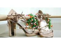 Rose gold studded high platform heel shoes size 7