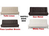 High Quality Napoli Deluxe Fold Down Function Faux Leather Fabric 4 Colour Sofa Bed With Chrome Legs