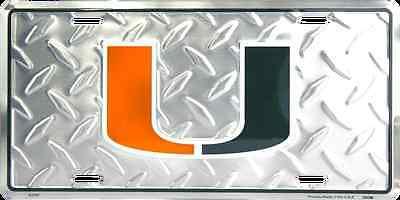 MIAMI HURRICANES CAR TRUCK TAG DIAMOND LICENSE PLATE METAL SIGN UNIVERSITY (Miami Hurricanes Metal)