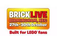 2x tickets BRICK LIVE (Lego event) NEC, Birmingham - valid any day