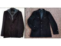 Men ELEGANT CASUAL M L BLACK JACKET COAT with detachable HOOD ZIP HODDIE GREY